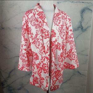 Vibrant White & Coral Seersucker Style Blazer